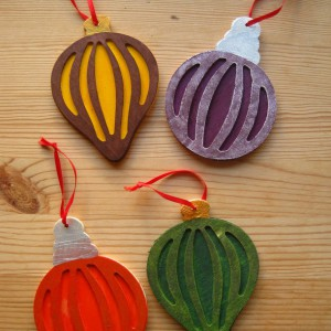 Jewel Tone Wooden Christmas Ornaments