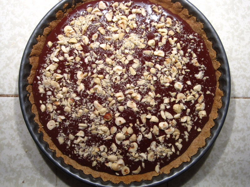 Chocolate Ganache Tart with Hazelnuts